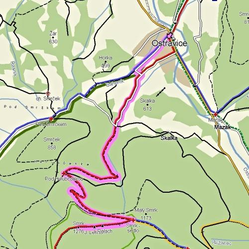 Smrk_z_ostravice_mapa